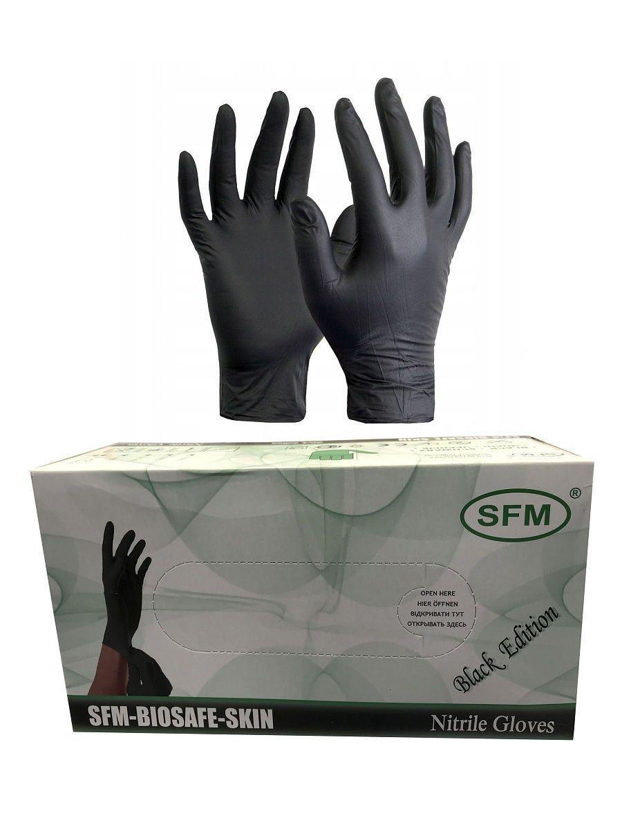 Перчатки нитриловые черные размер M, 200 шт, SFM
