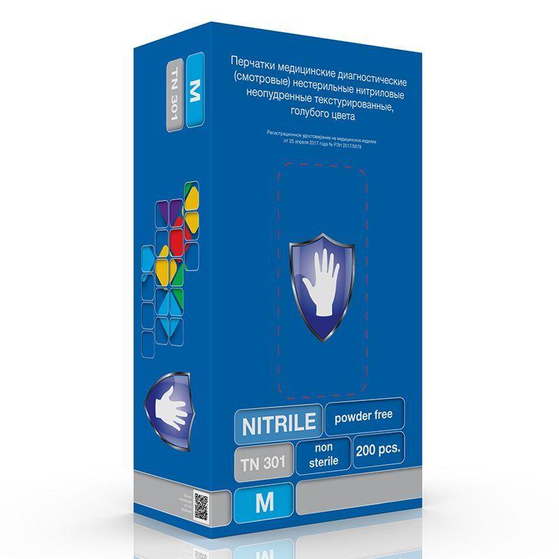 Перчатки нитриловые голубые размер L 200 шт, SC TN 301