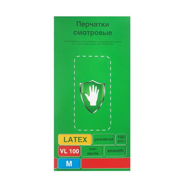 Перчатки латексные светло-желтые, размер M, 100 шт SC TL