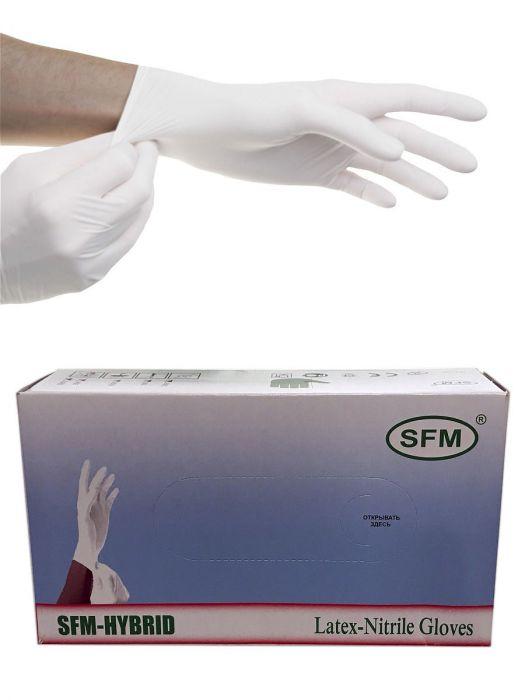 Перчатки латексные/нитриловые, белые, M, 100 шт,  SFM-HYBRID