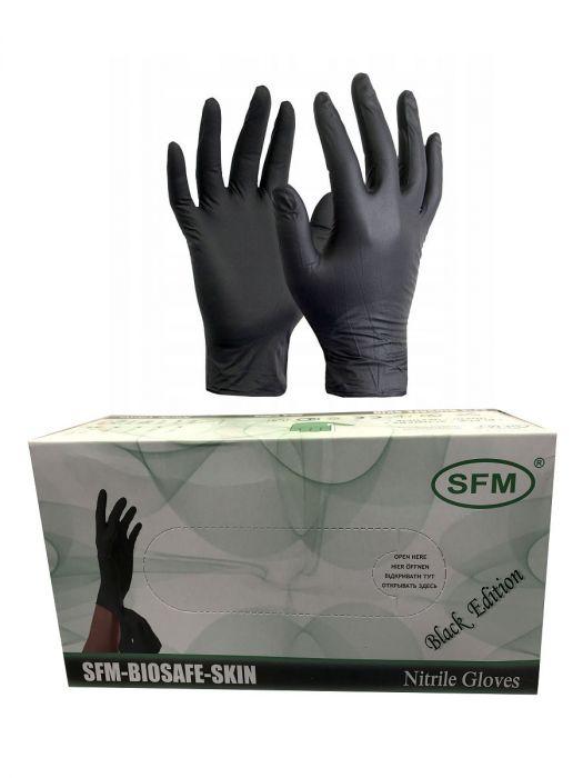 Перчатки нитриловые черные размер S, 200 шт, SFM