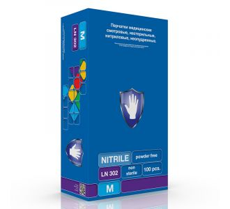 Перчатки нитриловые фиолетовые, M, 100 шт, SC LN 302