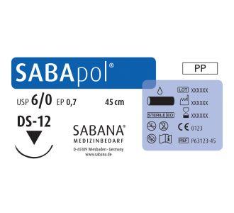 Sabana Medizinbedarf Sabapol  6-0 игла обратно-режущая DS-12, окр.3/8 пересекающийся, цвет синий, 45см