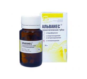 Альванес - кровоостанавливающая антисептическая коллагеновая губка с линкомицином 30шт